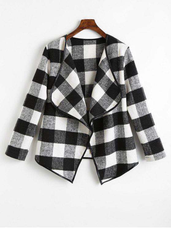 unique Checked Draped Asymmetric Coat - BLACK S