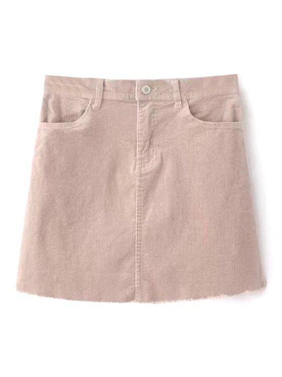 تنورة مصغر مهترئ الحاشية - عارية الوردي L