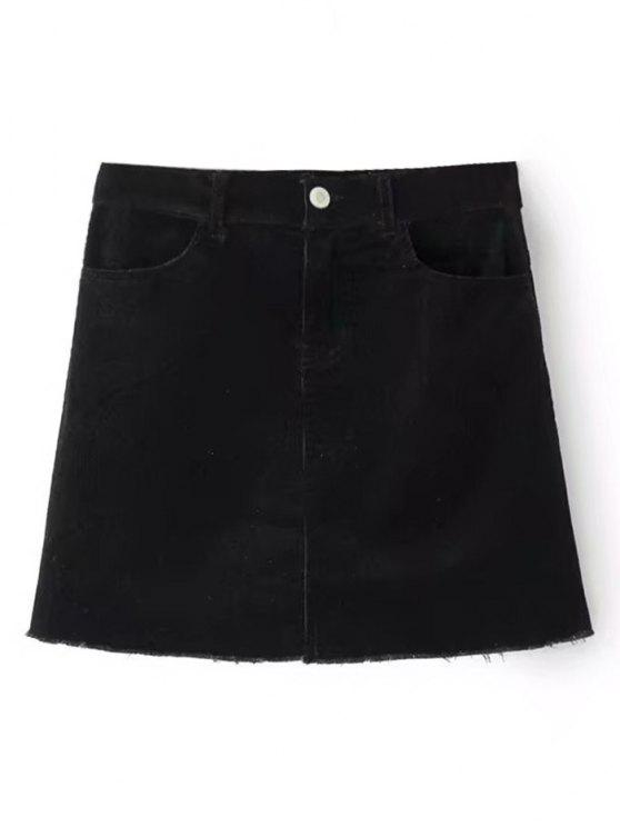 outfits Frayed Hem Corduroy Mini Skirt - BLACK M