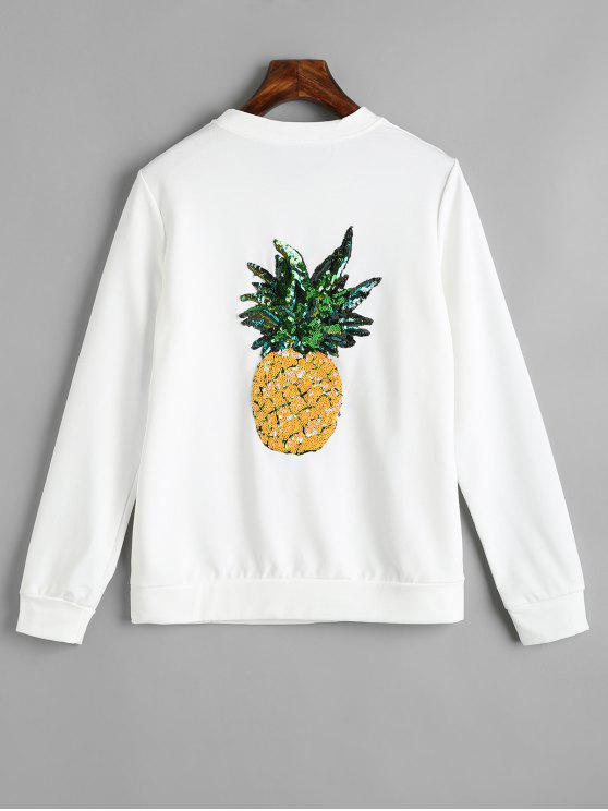 ladies Badge Patched Sequined Pineapple Back Sweatshirt - WHITE L
