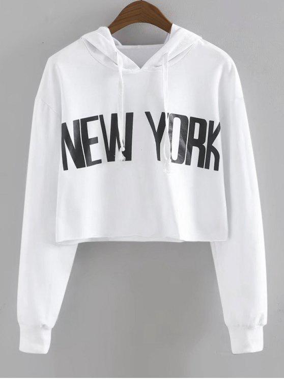 shop Drawstring New York Cropped Hoodie - WHITE M
