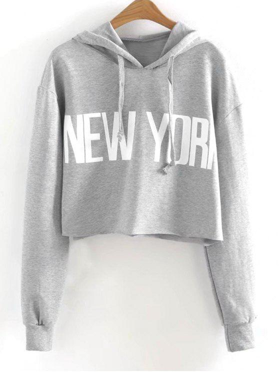 Drawstring New York Cropped Hoodie - Cinzento S