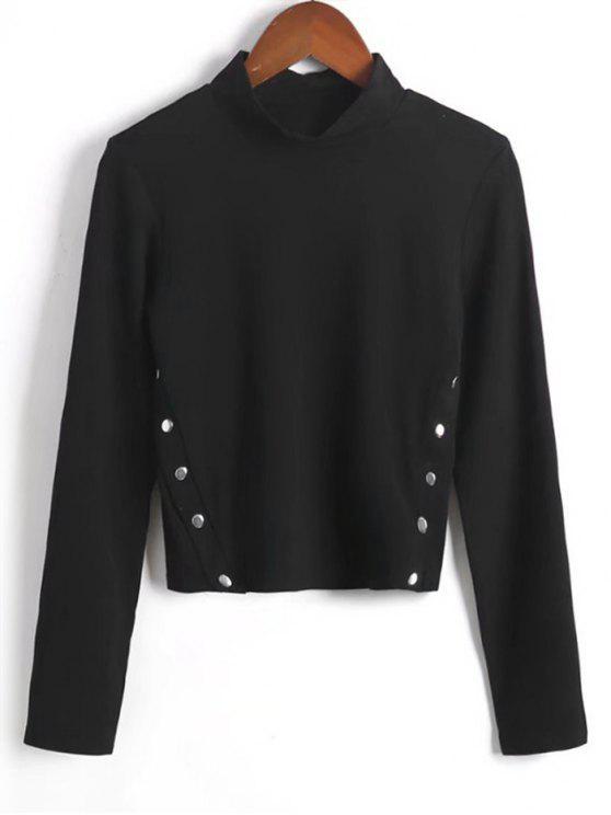 best Long Sleeve Side Buttoned  Top - BLACK M