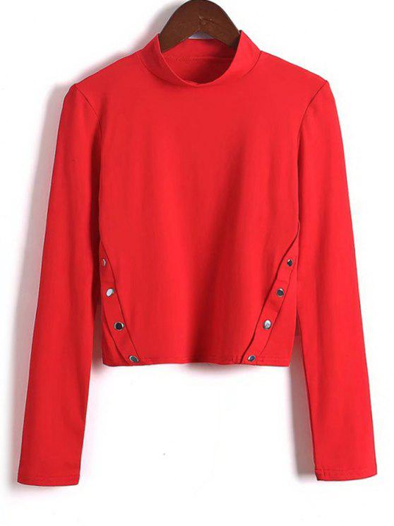 chic Long Sleeve Side Buttoned  Top - RED S
