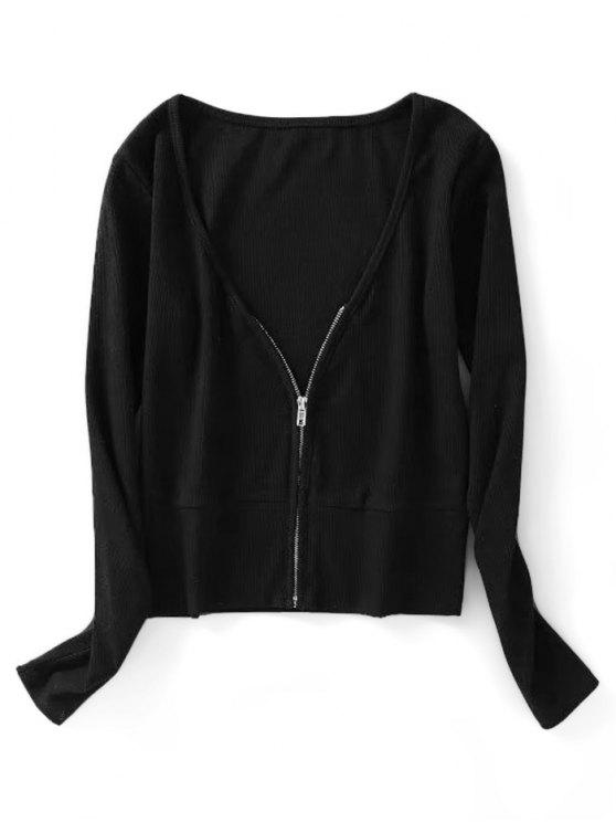unique Knitted Zip Up Ribbed Top - BLACK S