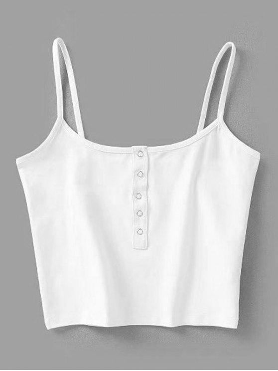 Camiseta Regata Barriga de Fora com Botões de Pressão - Branco M