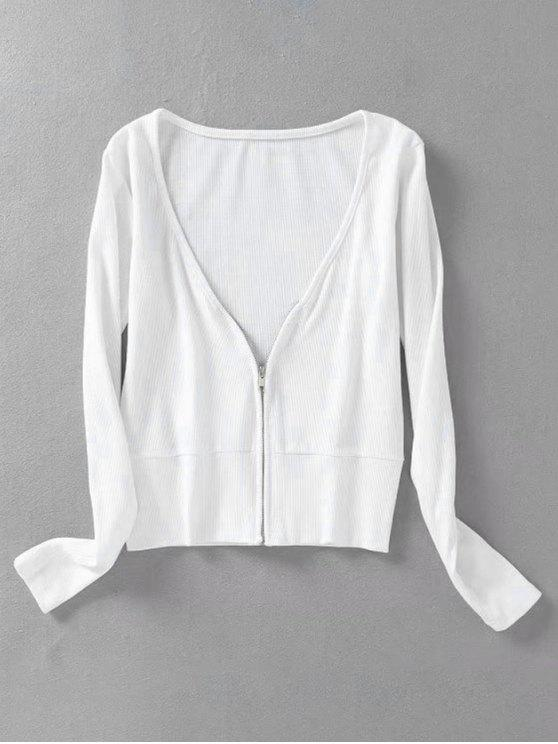 women's Knitted Zip Up Ribbed Top - WHITE S