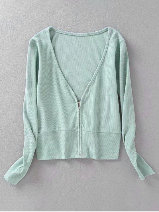lady Knitted Zip Up Ribbed Top - LIGHT GREEN M