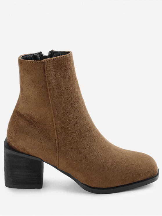 8487cc683f8f 48% OFF  2019 Bottines à Talon Carré En Daim Dans Camel