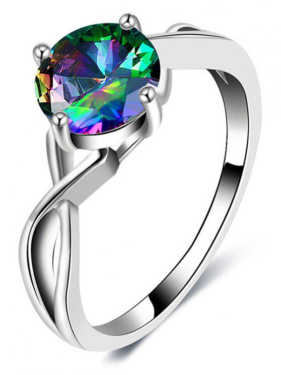 Faux Gemstone Infinite Finger Ring - Plata 7