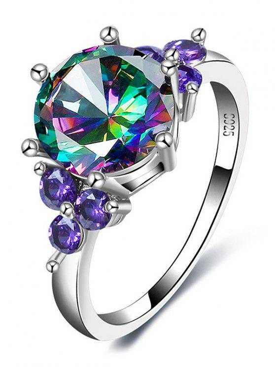 lady Faux Gem Amethyst Round Finger Ring - SILVER 8
