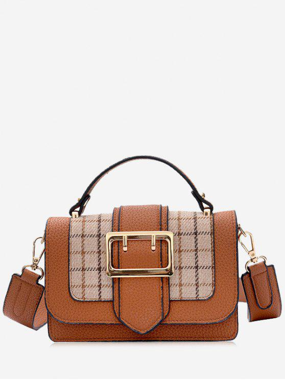 sale Plaid Buckle Strap Crossbody Bag With Handle - BROWN