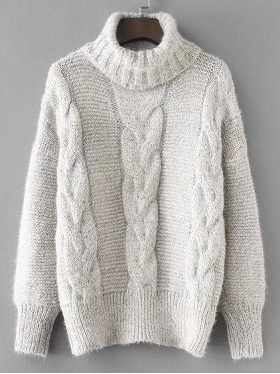 ladies Textured Turtleneck Cable Knit Sweater - LIGHT GRAY ONE SIZE