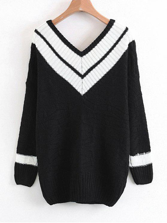 Pullover mit zwei Tönen mit V-Ausschnitt - Weiß Eine Größe