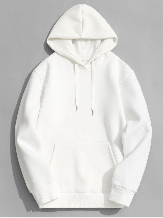 35 Off 2019 Fleece Lining Kangaroo Pocket Hoodie In White