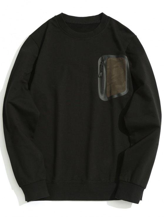 Reißverschluss-Tasche mit Rundhalsausschnitt - Schwarz L