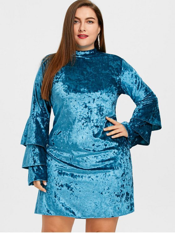 Tiered Ärmel Plus Size Samtkleid - Meeresblau 5XL