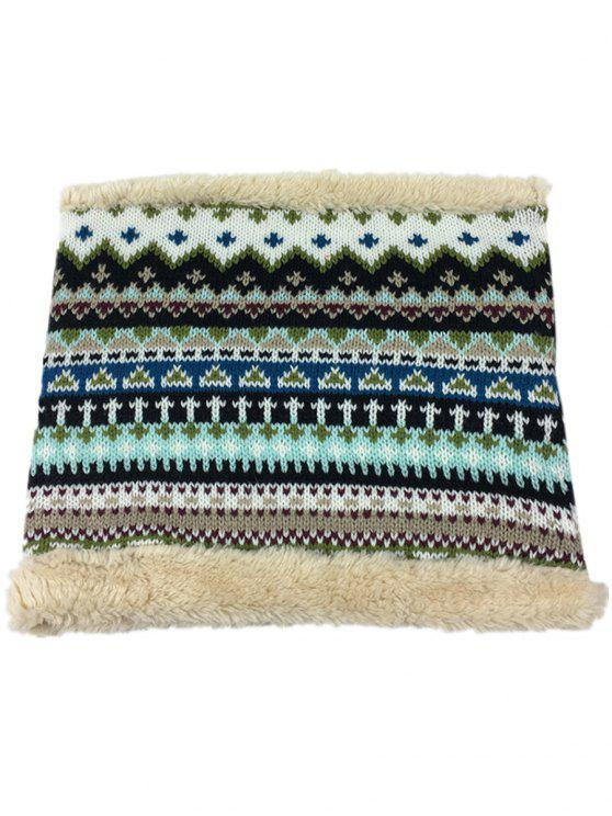 ladies Outdoor Ethnic Style Thicken Knitted Eternity Scarf - STONE BLUE