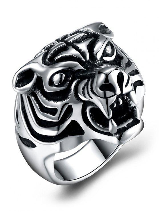 Anello in acciaio titanio intagliato a forma di tigre stile gotico - Nero 12