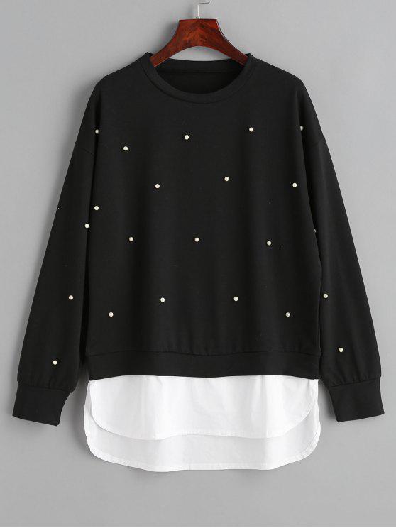 trendy Two Tone Panel Faux Pearls Sweatshirt - BLACK L