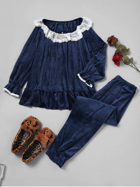 Rüschen Fleece Pyjama Set - Kadettenblau Eine Größe
