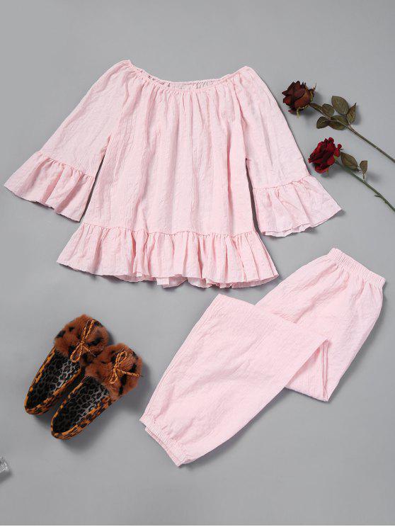 Strukturierte Pyjama-Set mit Rüschen - Rosa Eine Größe