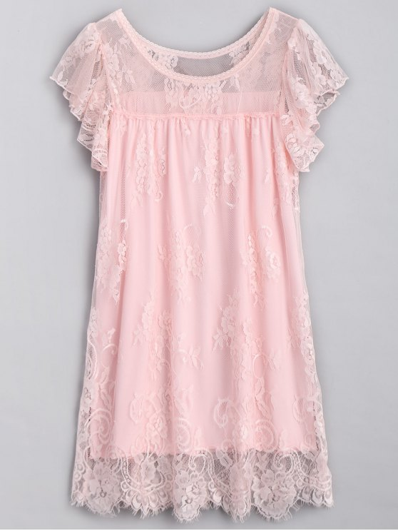 shop Scalloped Lace Nightdress - PINK ONE SIZE