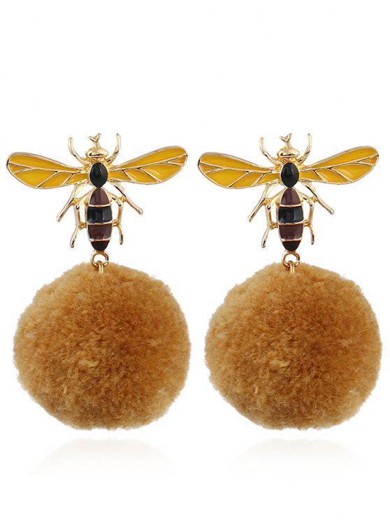 fashion Fuzzy Ball Honeybee Earrings - YELLOW