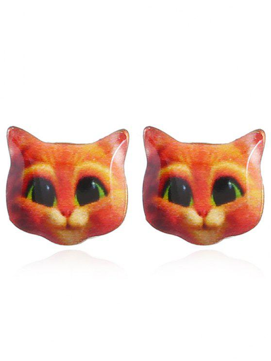 Cute Kitten Stud Tiny Pendientes - Naranja