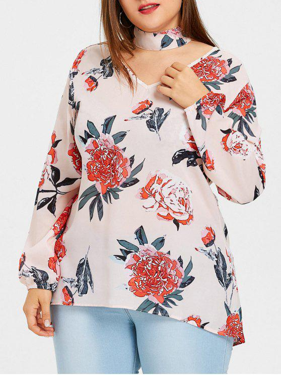 2effc2e4df4 24% OFF  2019 Plus Size Floral Print High Low Blouse With Choker In ...