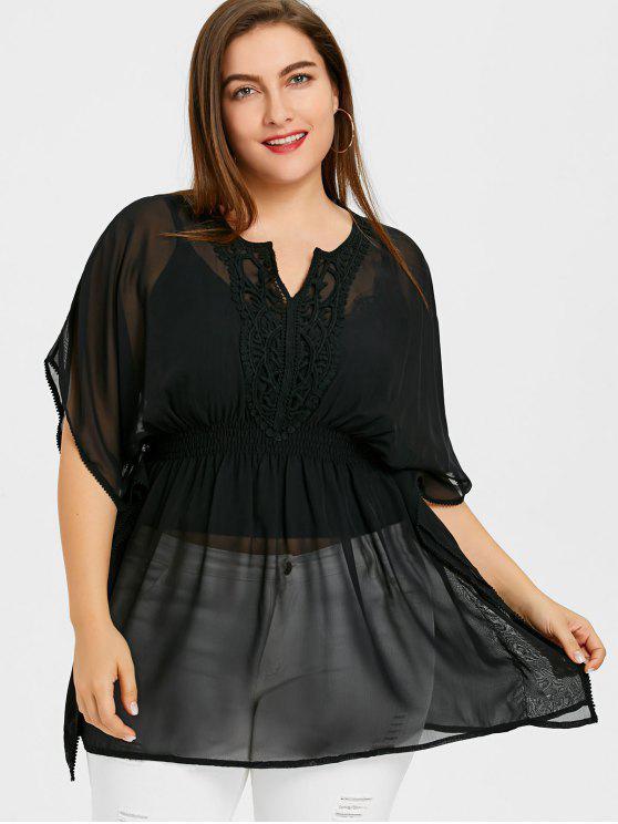 women Smocked Plus Size Kaftan Blouse - BLACK 3XL