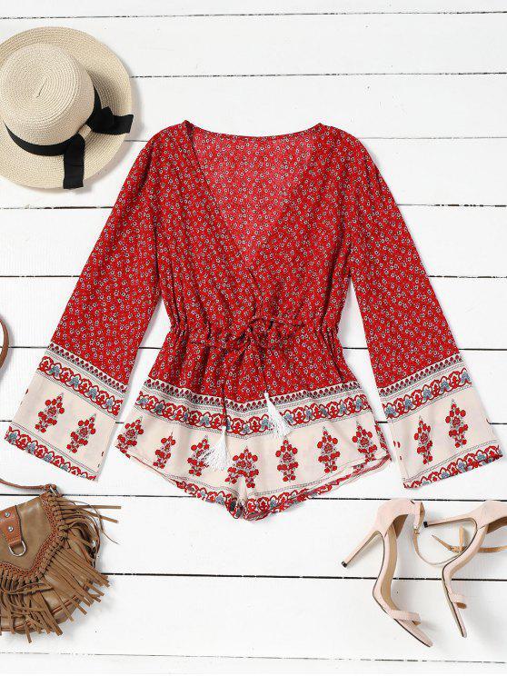 Estampado floral cuello mameluco - Rojo L