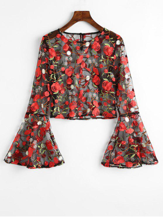 affordable Flare Sleeve Floral Sheer Mesh Blouse - FLORAL M