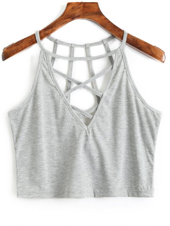 deac9c24a3e 43% OFF  2019 Cropped Criss Cross Strappy Tank Top In GRAY