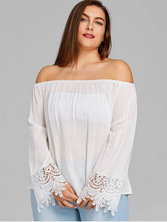 ladies Crochet Sleeve Off Shoulder Plus Size Top - WHITE XL