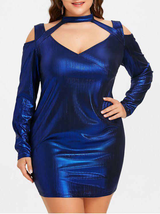 فستان الحجم الكبير رسن ذو فتحات - أزرق 2XL