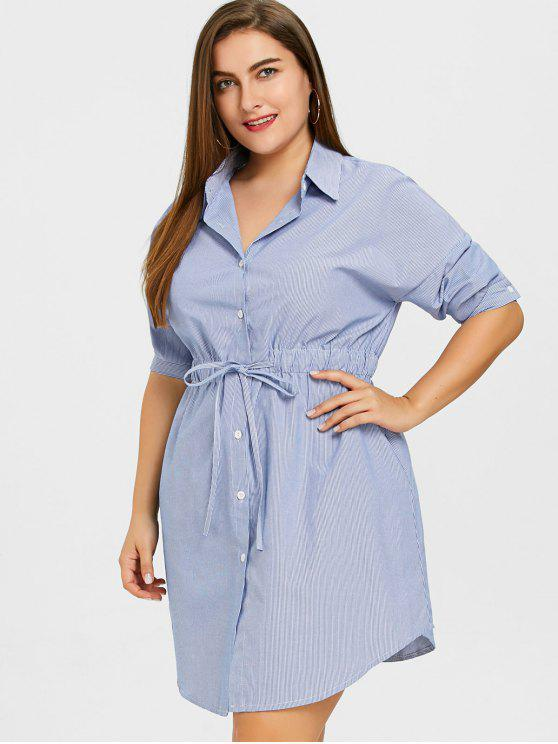 Drawstring waist striped plus size shirt dress stripe for Blue dress shirt outfit