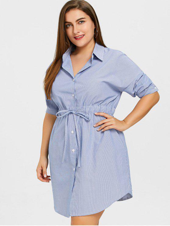 فستان شيرت الحجم الكبير مخطط مشد الخصر - شريط 3XL