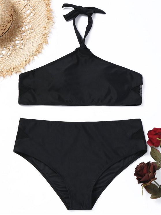 unique Halter Mesh Panel Plus Size Bikini Set - BLACK 2XL