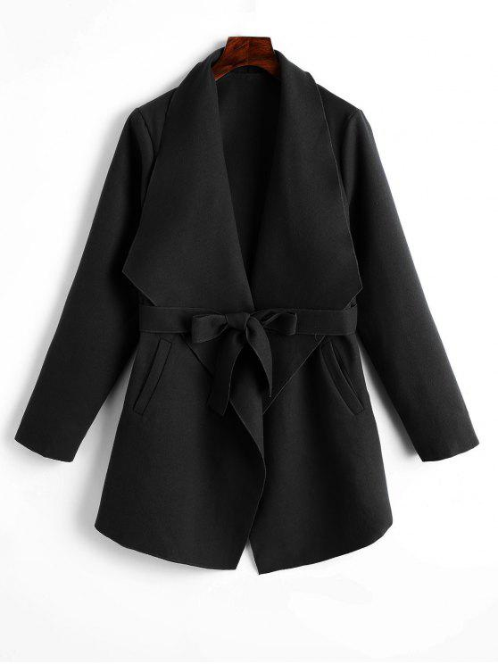 buy Plain Belted Coat with Pockets - BLACK S