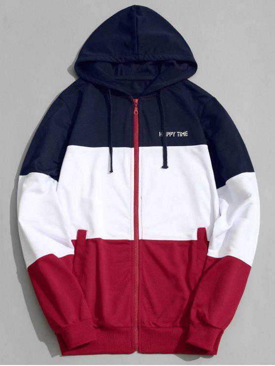 trendy Color Block Zip Up Hoodie Men Clothes - COLORMIX 3XL