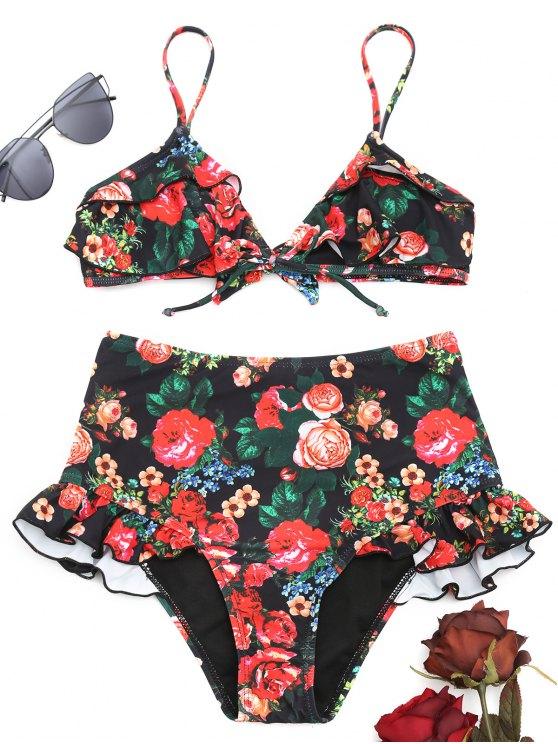 d30a2ecfc53f2 28% OFF] 2019 Ruffle Floral High Waisted Bikini Set In FLORAL | ZAFUL