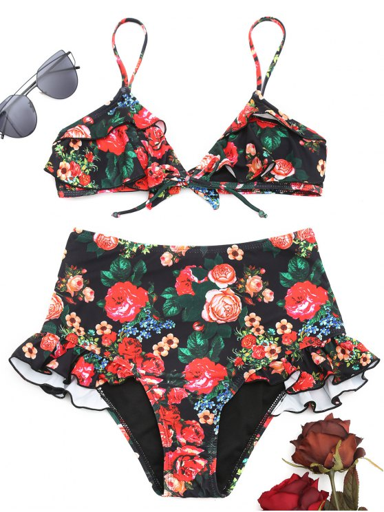 00ac03083cc88 23% OFF] 2019 Ruffle Floral High Waisted Bikini Set In FLORAL | ZAFUL
