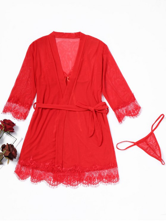 Lace Trim Mesh Dessous Set - Rot Eine Größe