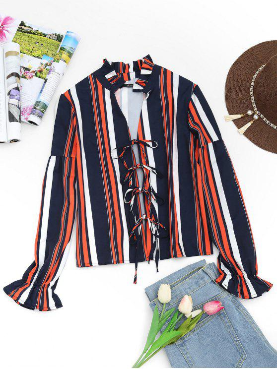 hot Plunging Neck Tied Front Striped Blouse - STRIPE S