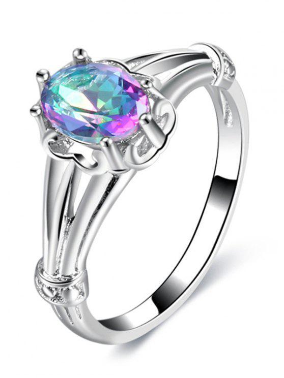 Anello di regolazione del diamante falso - Argento 9