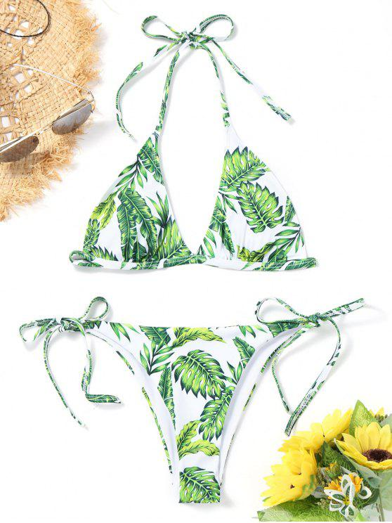sale Halter Leaf Print String Bikini Set - GREEN S