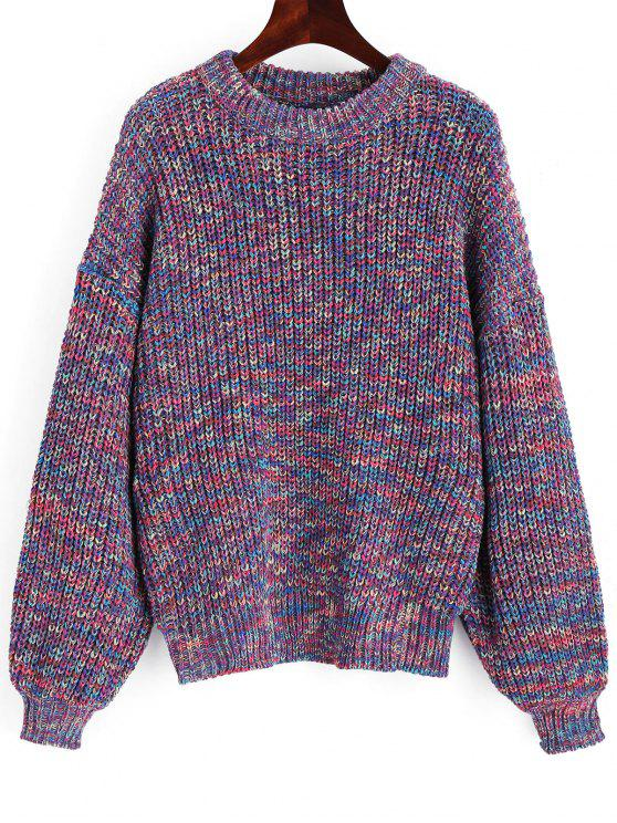 fashion Lantern Sleeve Multicolored Chunky Sweater - MULTICOLOR ONE SIZE