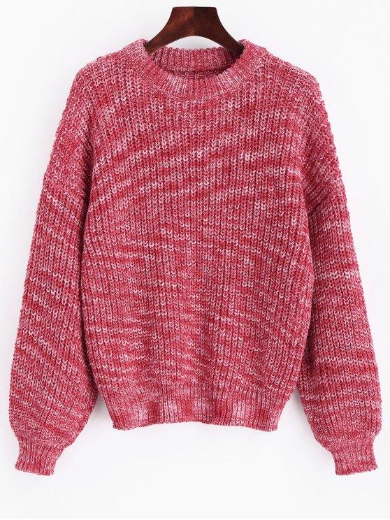 trendy Lantern Sleeve Multicolored Chunky Sweater - PAPAYA ONE SIZE