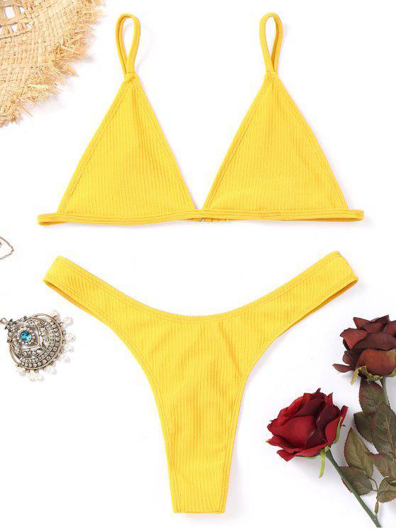 buy Unlined Thong Bikini Set - YELLOW M